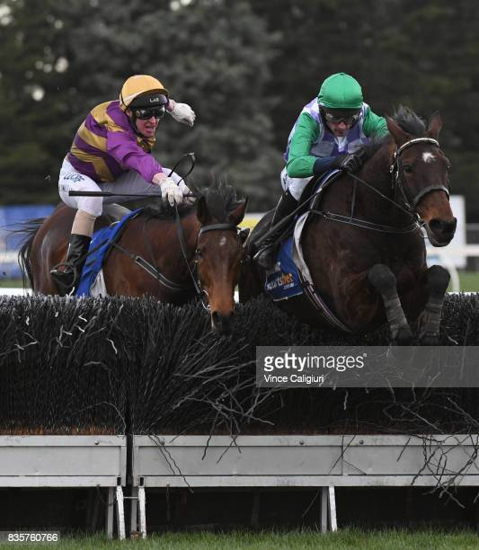 Richard Cully riding Wells races past Brad McLean aboard Sea King who fell at the 2nd Last Steeple on his way to winning Race 6 Grand National...