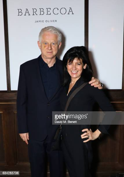 Richard Curtis and Emma Freud attend Jamie Oliver's new Barbecoa restaurant a classic steakhouse reimagined in the heart of Piccadilly on February 8...