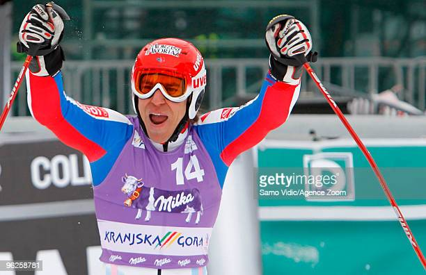 Richard Cyprien of France takes 6th place during the Audi FIS Alpine Ski World Cup Men's Giant Slalom on January 29 2010 in Kranjska Gora Slovenia