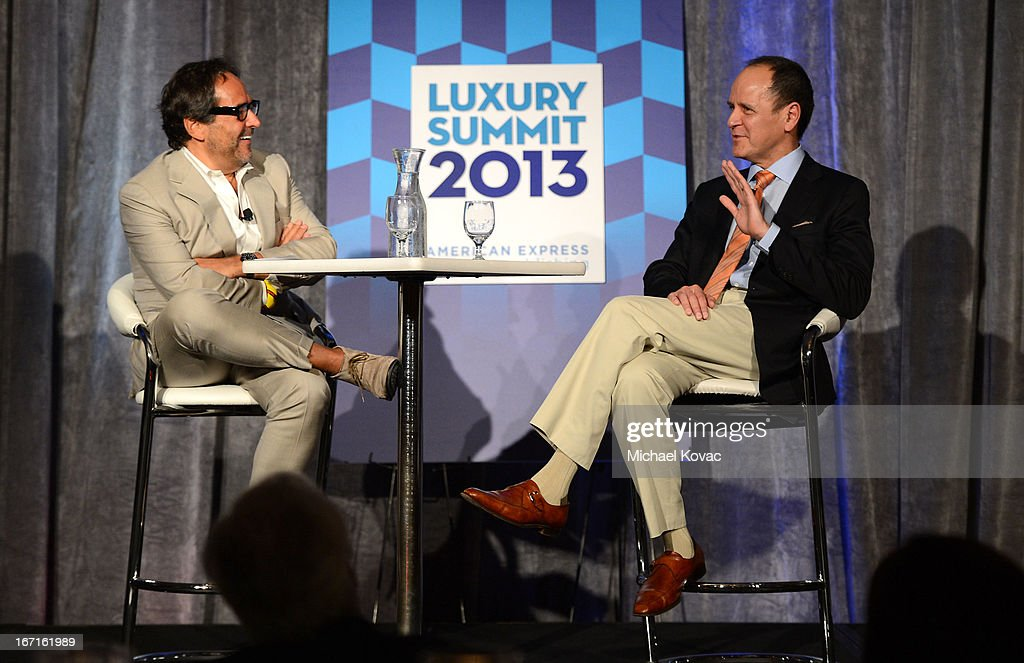 Richard David Story, Senior Vice President and Editor in Chief, Departures, and Bob Chavez, President & CEO, Hermes of Paris, Inc., speak onstage during The American Express Publishing Luxury Summit 2013 at St. Regis Monarch Beach Resort on April 21, 2013 in Dana Point, California.