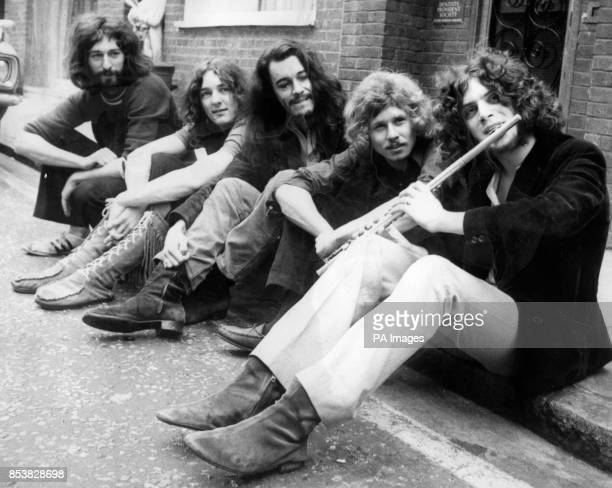 Richard Davies Roger Hodgson Richard Palmer Robert Millar and David Winthrop members of the band Supertramp They are sitting outside The Revolution...