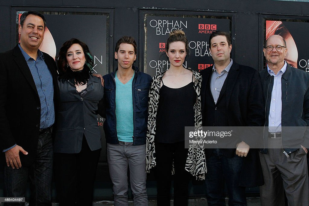 Richard DeCroce Maria Doyle Kennedy Jordan Gavaris Evelyne Brochu Matthew Stein and Perry Simon attend the 'Orphan Black' premiere at Sunshine Cinema...