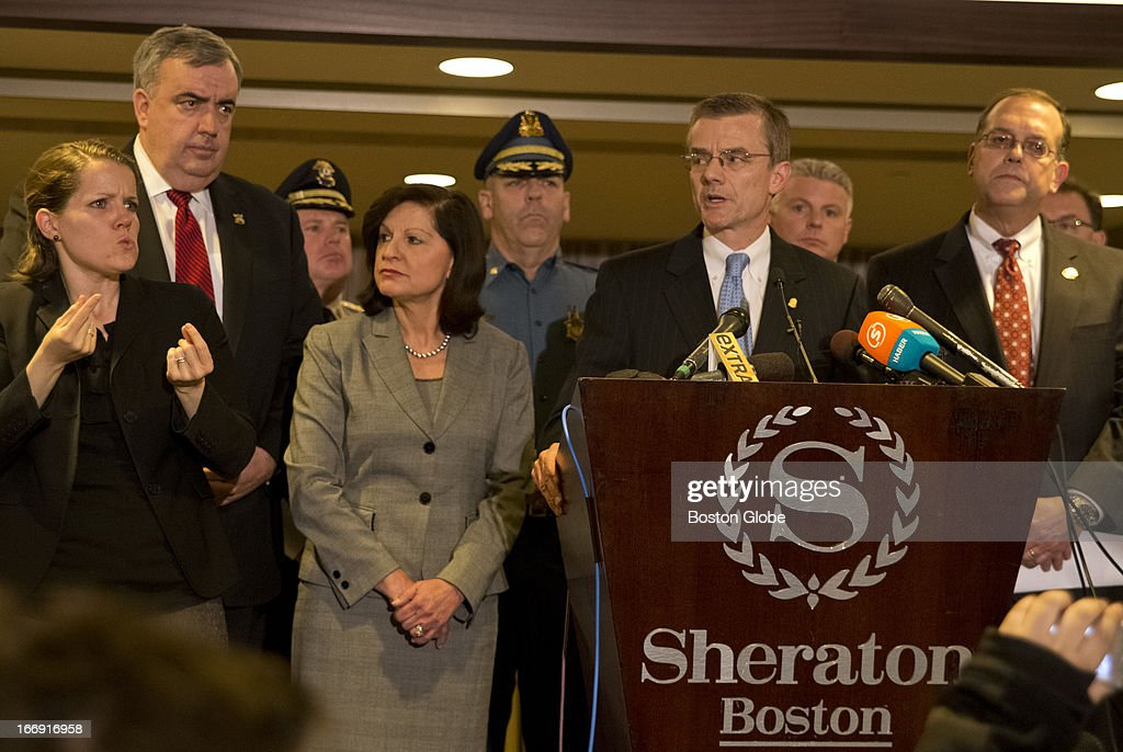 Richard DesLauriers, FBI special agent in charge of Boston's field office, speaks at a press conference regarding the investigation of the Boston Marathon bombing, releasing information on two suspects, at the Sheraton Hotel on Thursday, April 18, 2013.