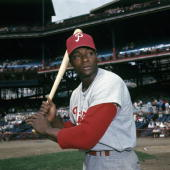 Richard 'Dick' Allen of the Philadelphia Phillies poses for a portrait prior a game in 1966 against the Cincinnati Reds at Crosley Field in...