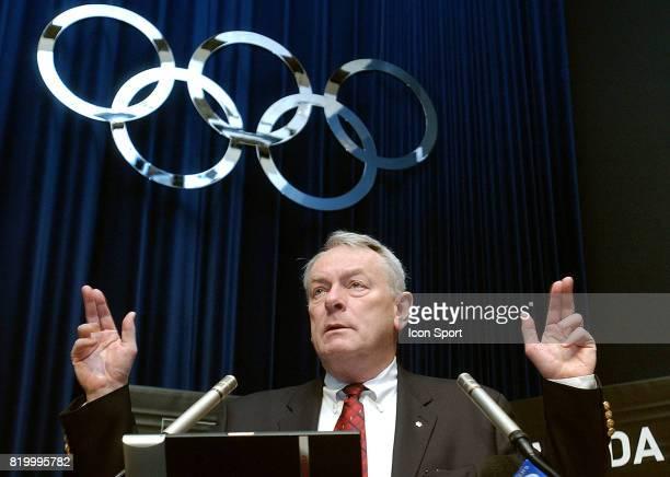 Richard Dick POUND President de l' Agence Mondiale AntiDopage lors du symposium pour les journalistes au Musee Olympique de Lausanne