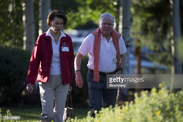 Richard 'Dick' Riordan former mayor of Los Angeles right walks to a morning session at the Allen Co Media and Technology Conference in Sun Valley...