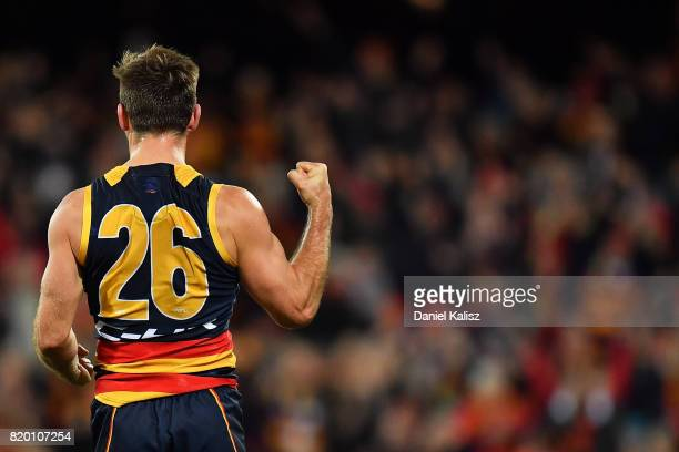 Richard Douglas of the Crows celebrates after kicking a goal during the round 18 AFL match between the Adelaide Crows and the Geelong Cats at...