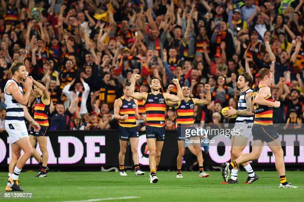 Richard Douglas of the Crows celebrates at the final siren during the First AFL Preliminary Final match between the Adelaide Crows and the Geelong...