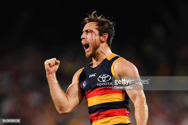 Richard Douglas of the Crows reacts after kicking a goal during the AFL First Qualifying Final match between the Adelaide Crows and the Greater...
