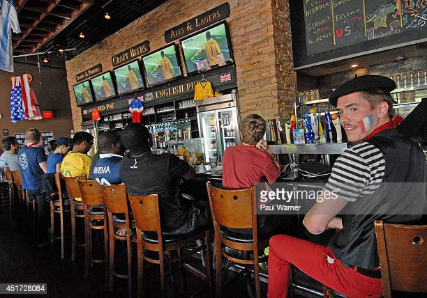 Richard Dubos from Orleans France attends the Red Fox English Pub during the Germany vs France World Cup quarterfinal match viewing party on July 4...