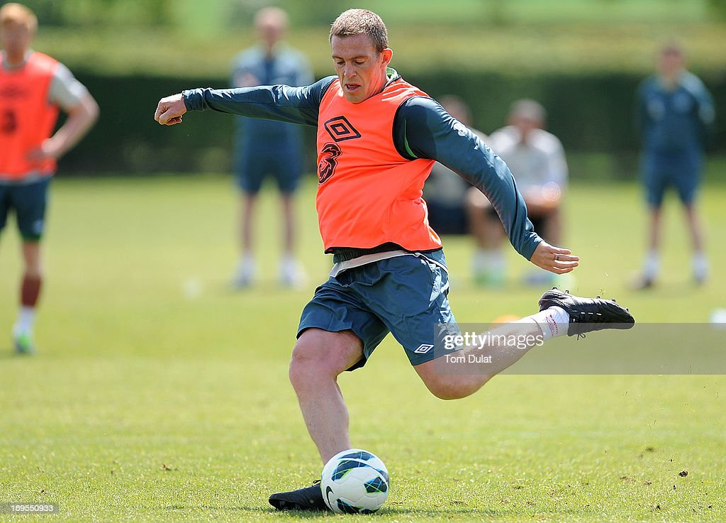 <a gi-track='captionPersonalityLinkClicked' href=/galleries/search?phrase=Richard+Dunne&family=editorial&specificpeople=209365 ng-click='$event.stopPropagation()'>Richard Dunne</a> in action during the Ireland training session at Watford FC Training Ground on May 27, 2013 in London Colney, England.