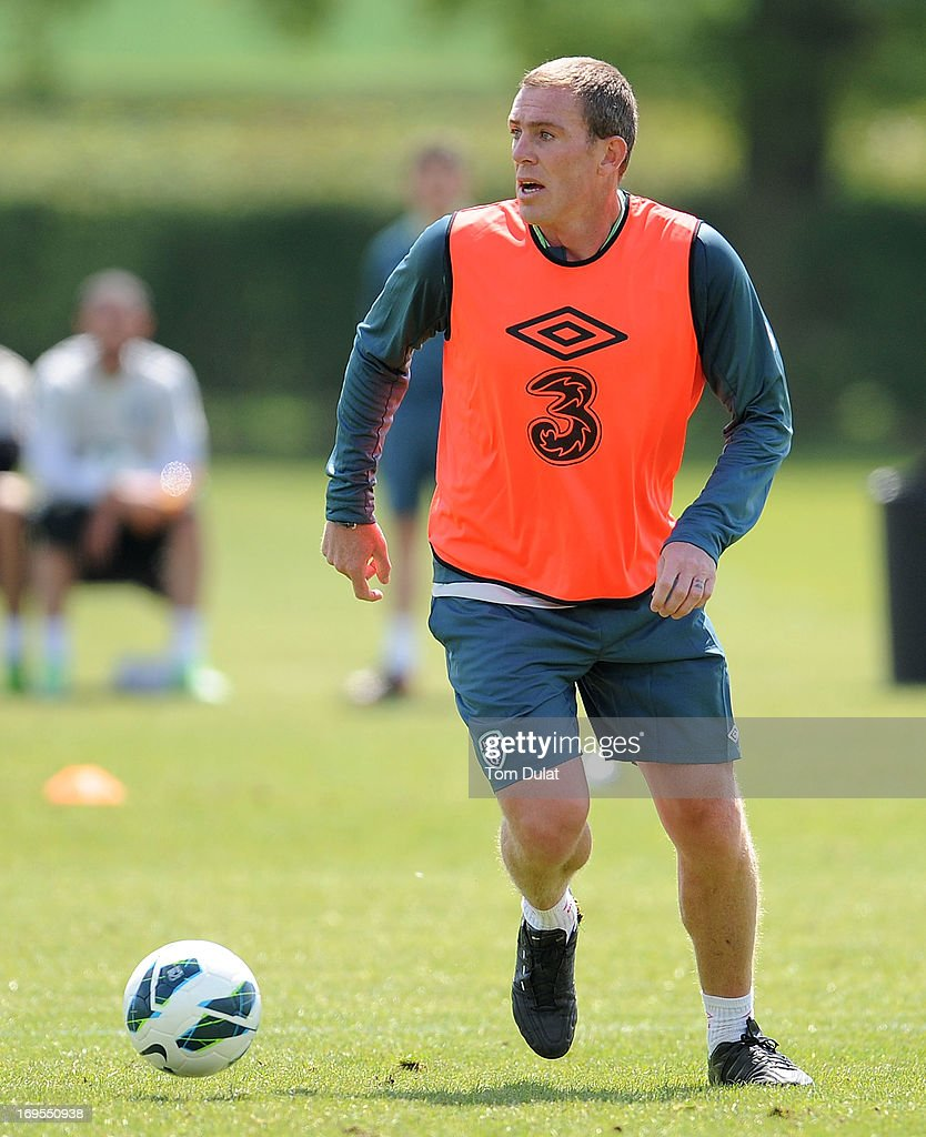 Richard Dunne in action during the Ireland training session at Watford FC Training Ground on May 27, 2013 in London Colney, England.
