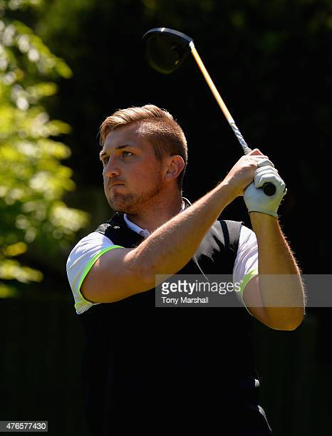 Richard Dunsby of Stanton on the Wold Golf Club plays his first shot on the 10th tee during the Golfbreakscom PGA Fourball Championship Midland...