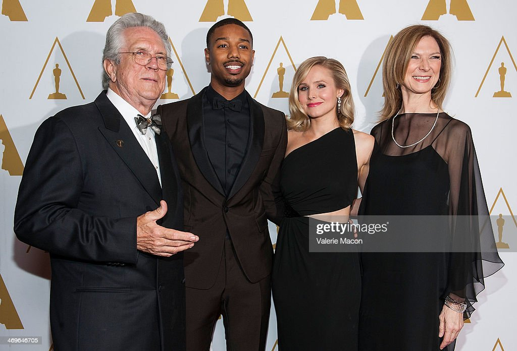 Richard Edlund, Michael B. Jordan, Kristen Bell and Dawn Hudson arrive at the Academy Of Motion Picture Arts And Sciences' Scientific And Technical Awards Ceremony at Beverly Hills Hotel on February 15, 2014 in Beverly Hills, California.