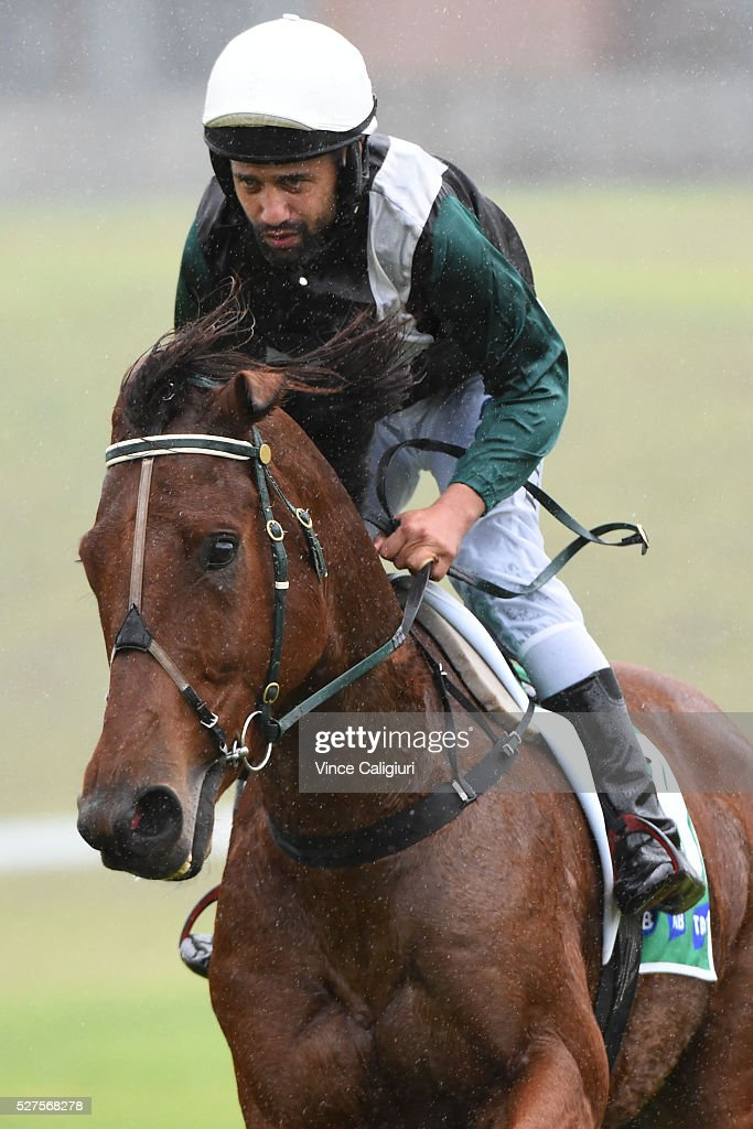 Richard Eynon riding Trinidadian before Race 2, the TAB.Com.au Maiden Hurdle during Brierly Day at Warrnambool Race Club on May 3, 2016 in Warrnambool, Australia.