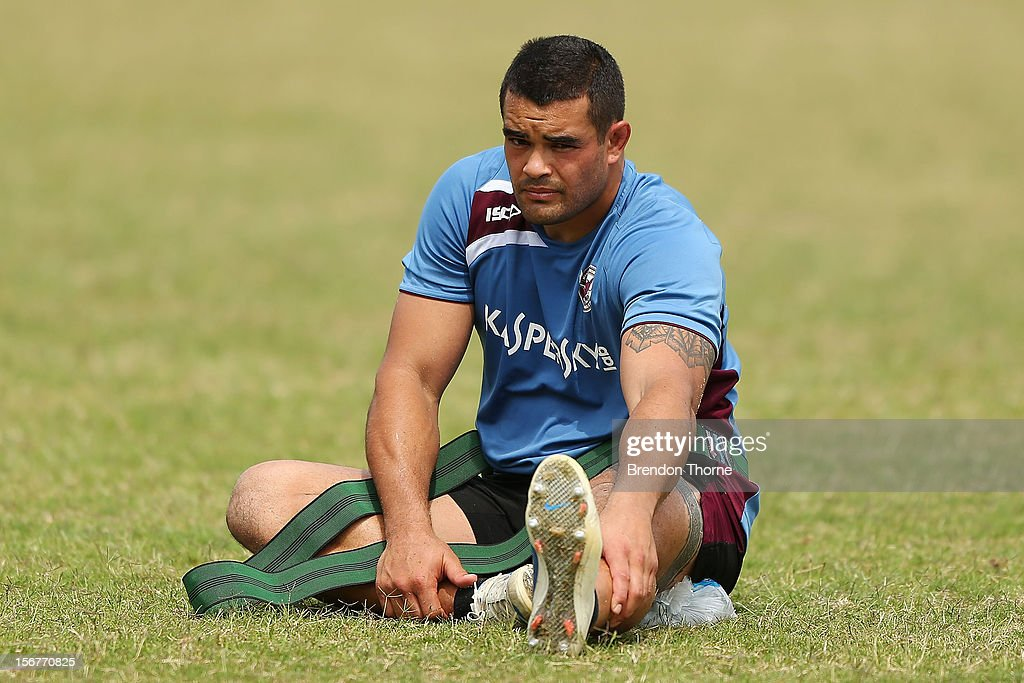 Richard Fa'aoso of the Sea Eagles warms down during a Manly Sea Eagles NRL pre-season training session at Sydney Academy of Sport on November 21, 2012 in Sydney, Australia.