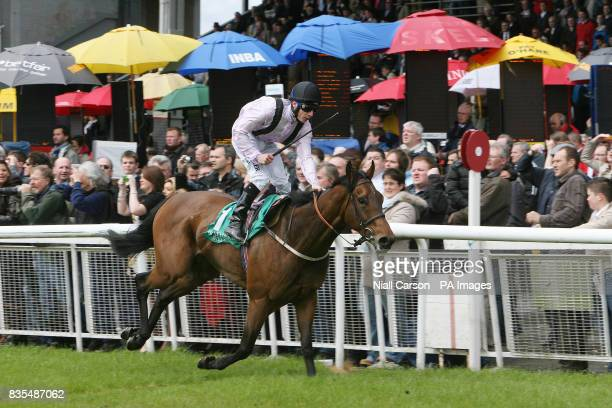 Richard Fahey crosses the line on Utmost Respect to win the Weatherbys Ireland Greenlands Stakes during the Boylesportscom Irish 2000 Guineas Day at...