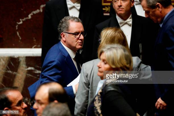 Richard Ferrand head of the ruling La Republique En Marche parliamentary group attends a session of questions to the government at the French...