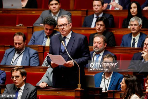 Richard Ferrand head of the ruling La Republique En Marche parliamentary group ask a question during a session of questions to the government on...