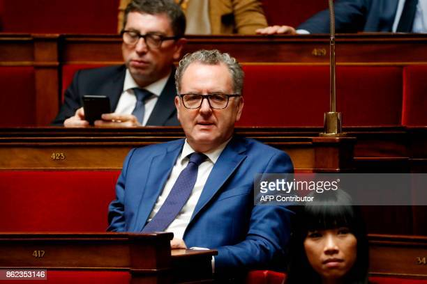 Richard Ferrand head of the ruling La Republique En Marche parliamentary group looks on during a session of questions to the government at the French...
