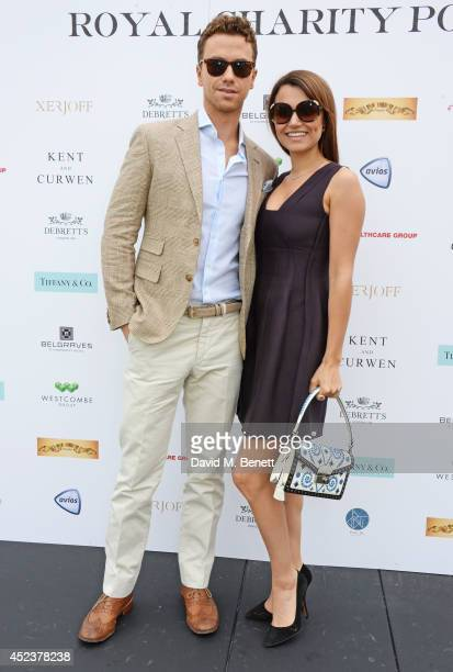 Richard Fleeshman and Samantha Barks attend the Kent and Curwen Royal Charity Polo Cup at Watership Down Sydmonton Court Estate on July 19 2014 in...