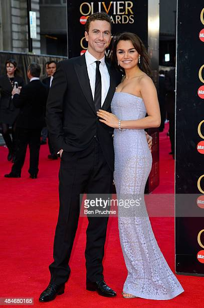 Richard Fleeshman and Samantha Barks attend the Laurence Olivier Awards at The Royal Opera House on April 13 2014 in London England