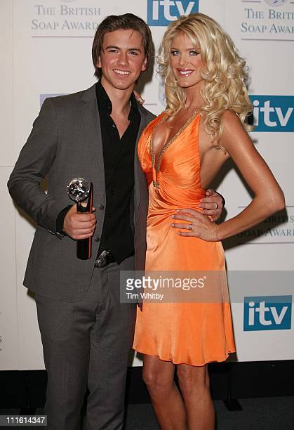 Richard Fleeshman and Victoria Silvstedt during British Soap Awards 2006 Press Room at BBC Television Centre in London Great Britain