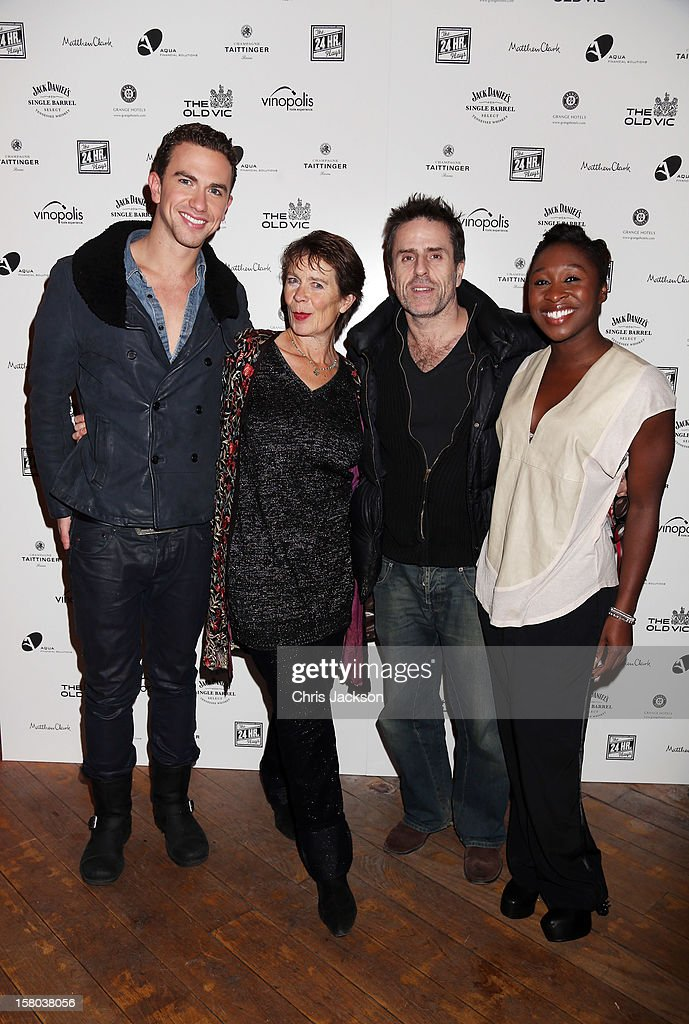 Richard Fleeshman, Celia Imrie, Con O'Neill and Cynthia Erivo attend the post-show party, The 25th Hour, following The Old Vic's 24 Hour Musicals Celebrity Gala 2012 during which guests drank Jack Daniels Single Barrel, Curtain Raiser cocktails in The Great Halls, Vinopolis, Borough on December 9, 2012 in London, England.