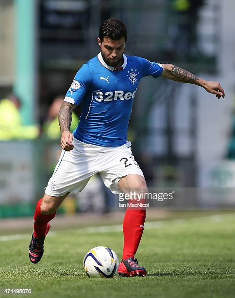 Richard Foster of Rangers controls the ball during the Scottish Championship play off semi final second leg match between Hibernian and Rangers at...