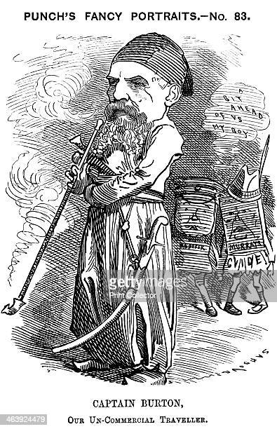 Richard Francis Burton1882 Burton in the eastern dress he adopted on his travels The figures on the right represent Murray and Baedeker guide books...