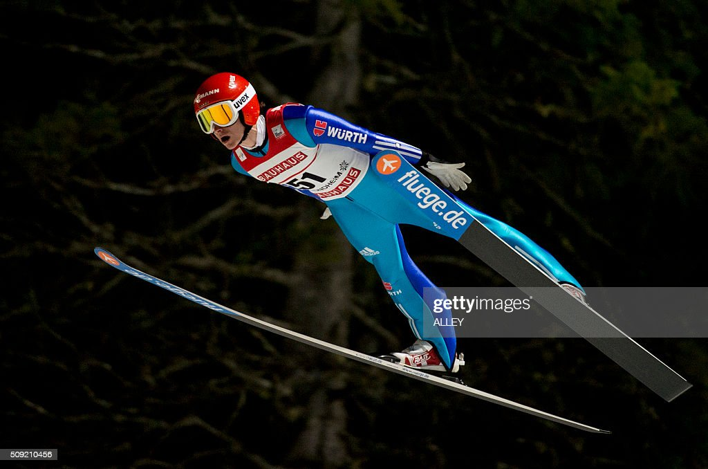 Richard Freitag from Germany in the air during training and qualification for FIS Ski Jumping World Cup competition in Trondheim, on February 9, 2016. P / AFP / NTB SCANPIX / Alley, Ned / Norway OUT