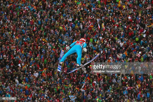Richard Freitag of Germany competes at his first round jump on day 6 of the Four Hills Tournament Ski Jumping event at BergiselSchanze on January 4...