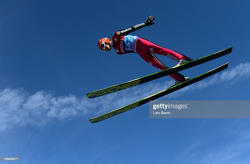Richard Freitag of Germany competes during the trail round for the FIS Ski Jumping World Cup event at the 61st Four Hills ski jumping tournament at Olympiaschanze on December 31, 2012 in Garmisch-Partenkirchen, Germany.
