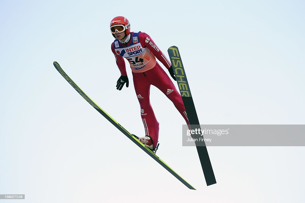 Richard Freitag of Germany competes in a Ski Jump during the FIS Ski Jumping World Cup at the RusSki Gorki venue on December 9, 2012 in Sochi, Russia.