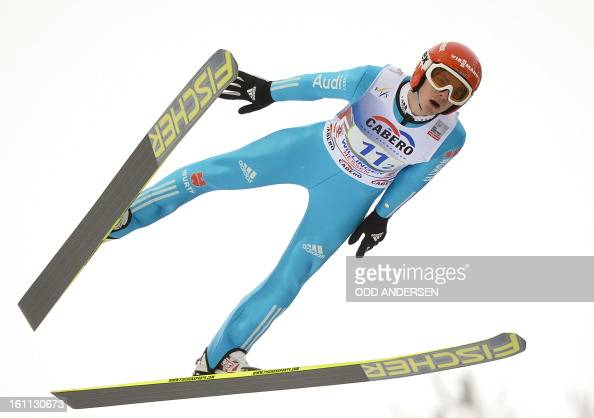 Richard Freitag of Germany jumps during the FIS Ski Jumping World Cup team competition on the Muehlenkopfschanze hill in Willingen western Germany on...