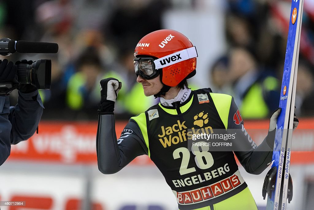 <a gi-track='captionPersonalityLinkClicked' href=/galleries/search?phrase=Richard+Freitag&family=editorial&specificpeople=7295708 ng-click='$event.stopPropagation()'>Richard Freitag</a> of Germany reacts after winning the men's FIS Ski Jumping World Cup competition in Engelberg, central Switzerland, on December 20, 2014.