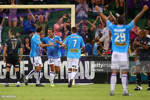Richard Garcia and Krisztian Vadocz of the Glory celebrate a goal during the round 20 ALeague match between the Perth Glory and Brisbane Roar at nib...