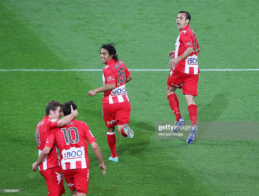 Richard Garcia of the Heart celebrates his goal with David Williams during the round six A-League match between the Melbourne Heart and the Brisbane Roar at AAMI Park on November 9, 2012 in Melbourne, Australia.