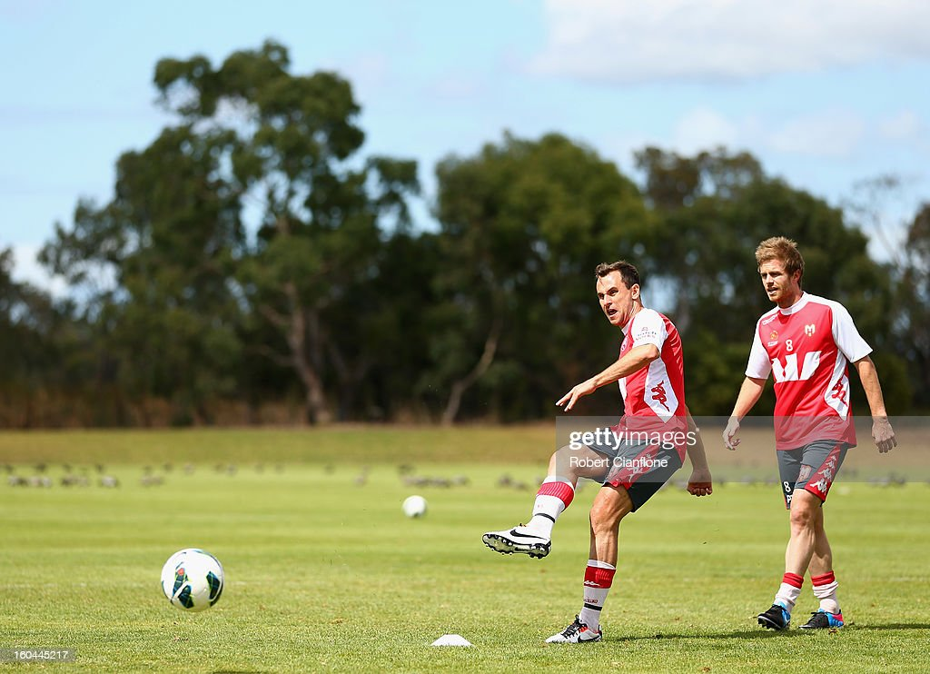 Richard Garcia of the Heart kicks the ball during a Melbourne Heart A-League training session at La Trobe University Sports Fields on February 1, 2013 in Melbourne, Australia.