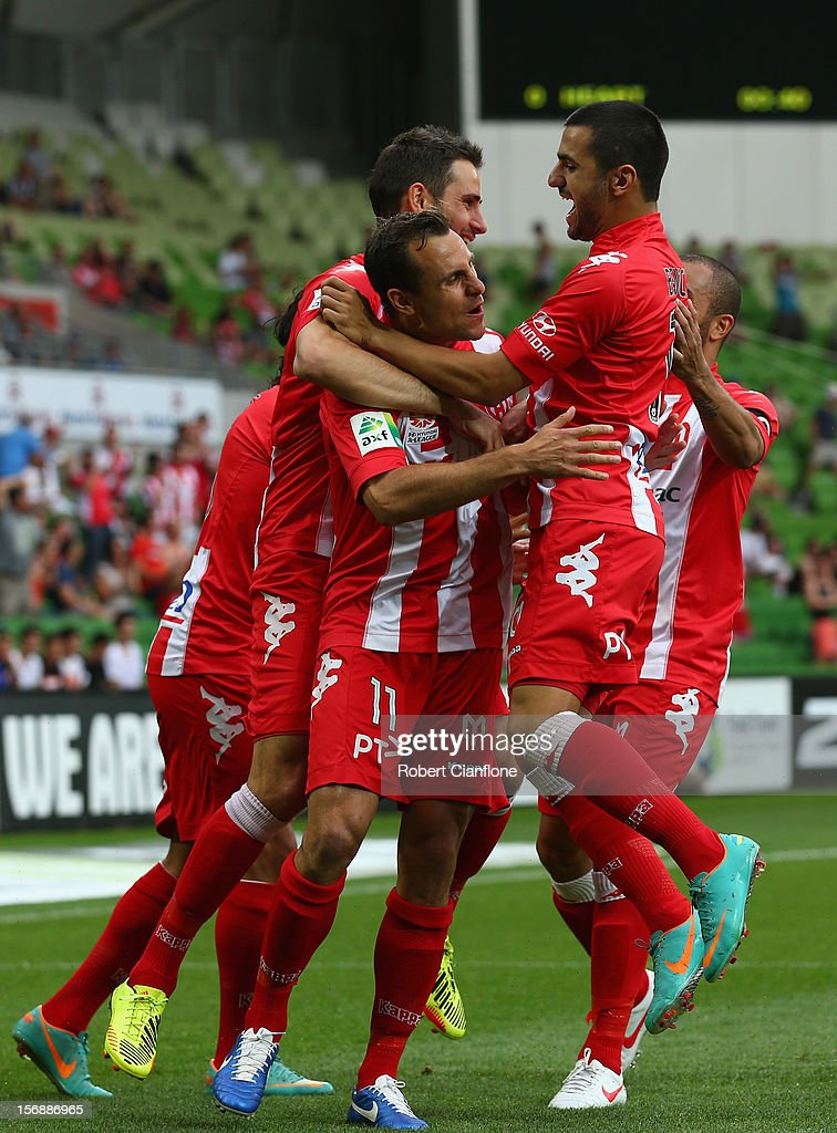 Richard Garcia of the Heart scores his team first goal during the round eight A-League match between the Melbourne Heart and the Newcastle Jets at AAMI Park on November 24, 2012 in Melbourne, Australia.