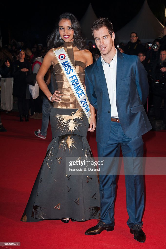 Richard Gasquet and Miss France 2014 Flora Coquerel attend the 15th NRJ Music Awards at Palais des Festivals on December 14, 2013 in Cannes, France.