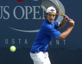 Richard Gasquet during his second round match against Gilles Simon at the 2006 US Open at the USTA Billie Jean King National Tennis Center in...
