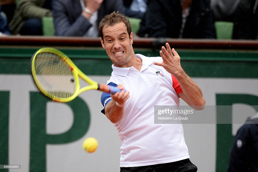 Richard Gasquet during the Men's Singles on day eight of the French Open 2016 on May 29, 2016 in Paris, France.