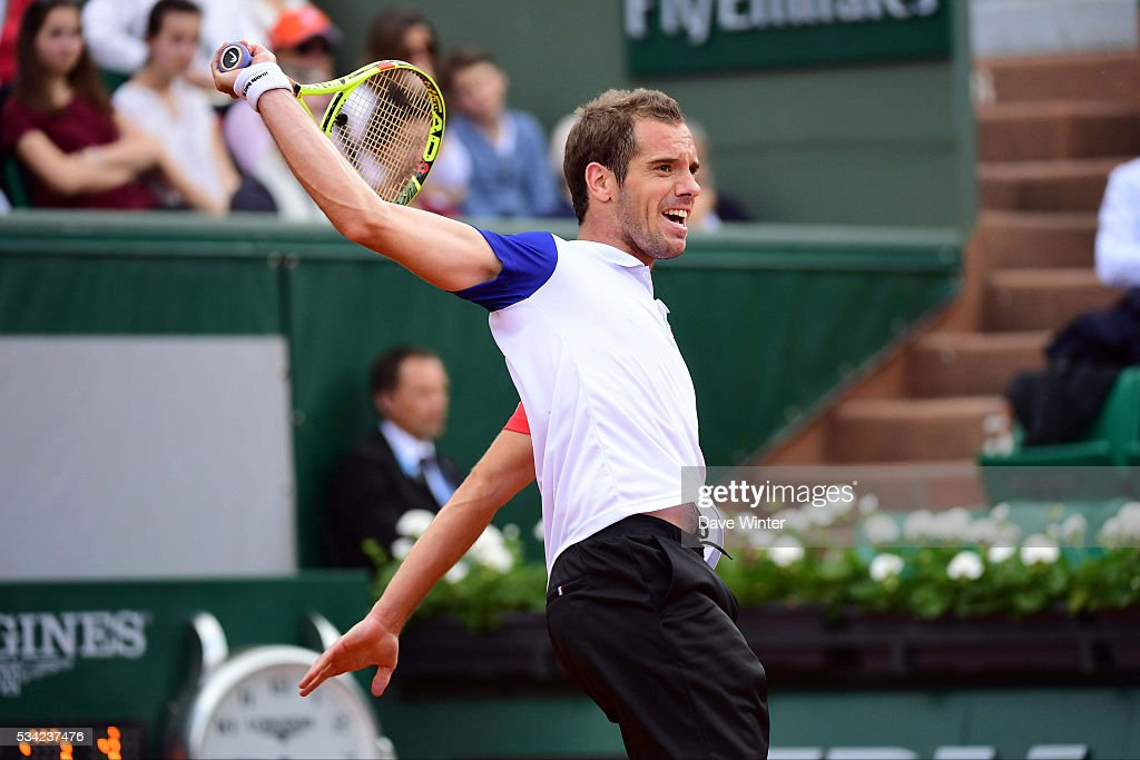 Richard Gasquet during the Men's Singles second round on day four of the French Open 2016 at Roland Garros on May 25, 2016 in Paris, France.