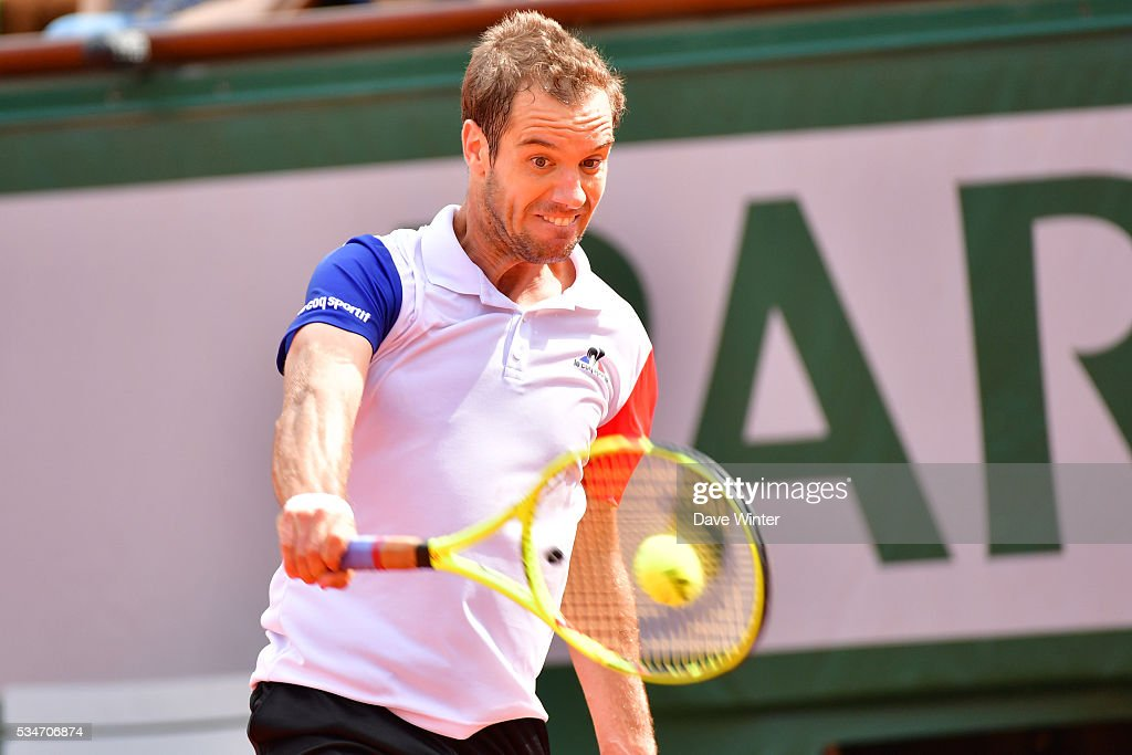 Richard Gasquet during the Men's Singles third round on day six of the French Open 2016 at Roland Garros on May 27, 2016 in Paris, France.