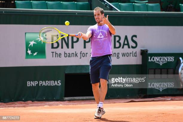 Richard Gasquet during training session of the 2017 French Open at Roland Garros on May 24 2017 in Paris France
