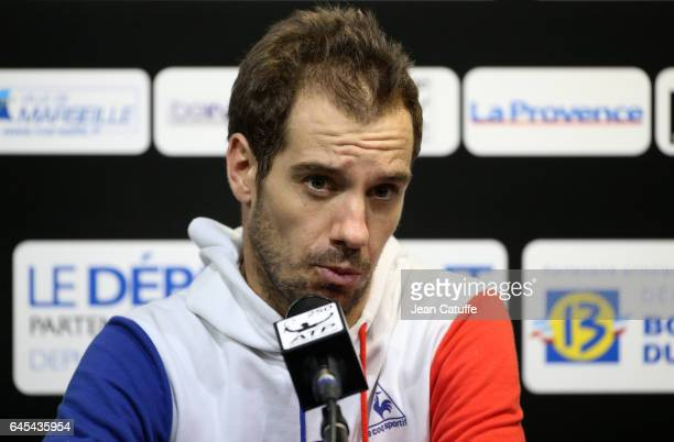 Richard Gasquet of France answers to the media at the Open 13 an ATP 250 tennis tournament at Palais des Sports on February 25 2017 in Marseille...