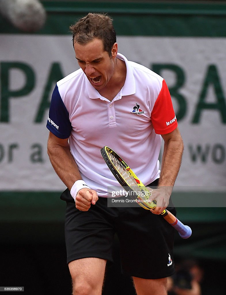 <a gi-track='captionPersonalityLinkClicked' href=/galleries/search?phrase=Richard+Gasquet&family=editorial&specificpeople=206501 ng-click='$event.stopPropagation()'>Richard Gasquet</a> of France celebrates during the Men's Singles fourth round match against Kei Nishikori of Japan on day eight of the 2016 French Open at Roland Garros on May 29, 2016 in Paris, France.