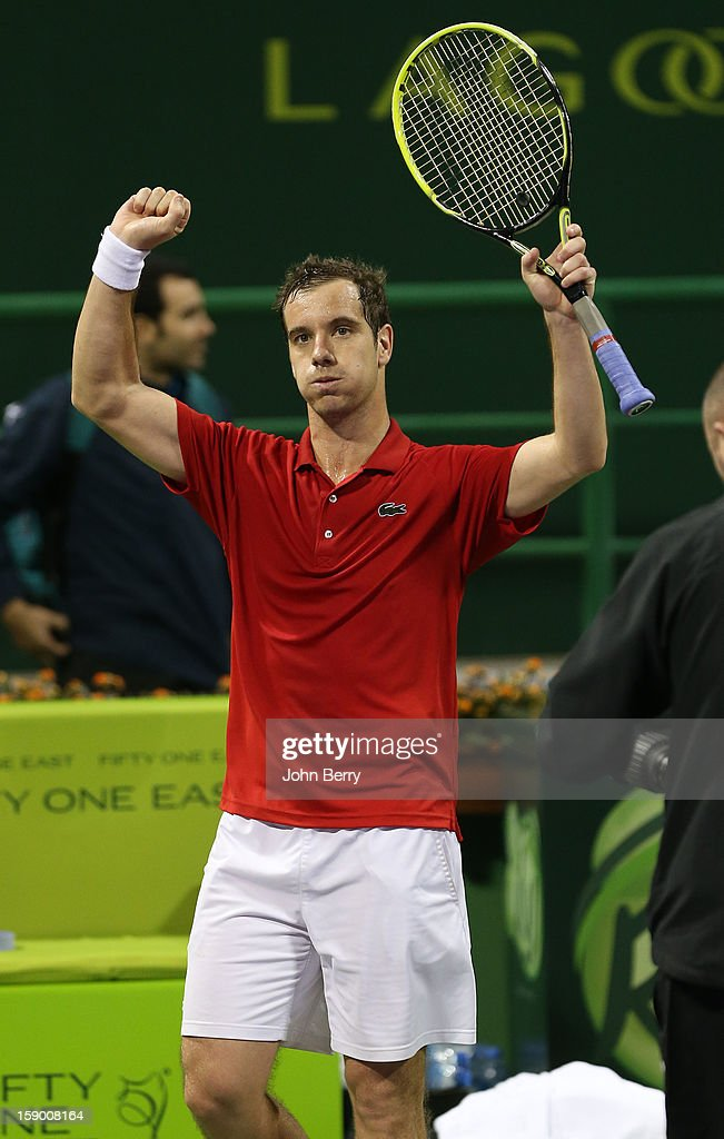 Richard Gasquet of France celebrates his victory after his final against Nikolay Davydenko of Russia in day six of the Qatar Open 2013 at the Khalifa International Tennis and Squash Complex on January 5, 2013 in Doha, Qatar.
