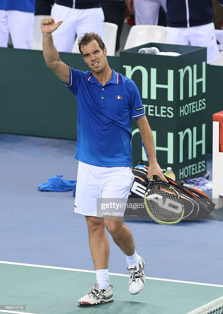 Richard Gasquet of France celebrates his victory after his match against Dudi Sela of Israel on day one of the Davis Cup first round match between France and Israel at the Kindarena stadium on February 1, 2013 in Rouen, France.